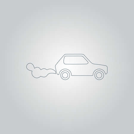 toxic emissions: Car emits carbon dioxide. Flat web icon or sign isolated on grey background. Collection modern trend concept design style vector illustration symbol