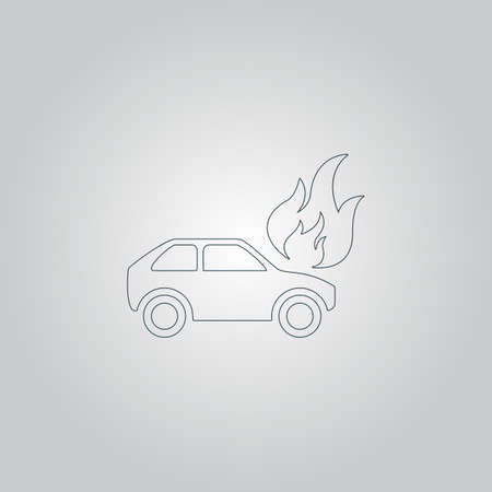 misfortune: Car on fire. Flat web icon or sign isolated on grey background