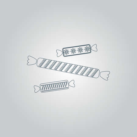 taffy: Three Candy. Flat web icon or sign isolated on grey background