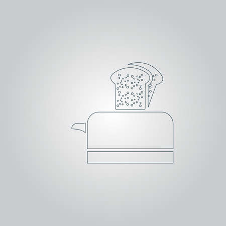 ready cooked: Toaster. Flat web icon or sign isolated on grey background Illustration
