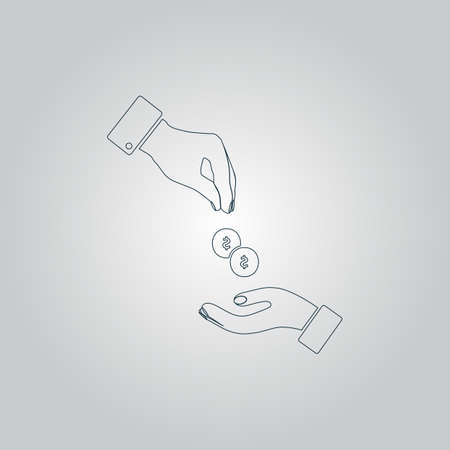 Hands Giving and Receiving Money. Flat web icon or sign isolated on grey background Illustration