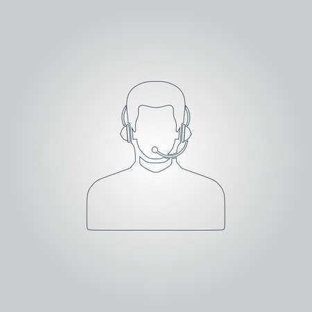 headset symbol: Call center operator with headset. Flat web icon or sign isolated on grey background. Collection modern trend concept design style vector illustration symbol Illustration