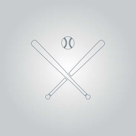dodgers: Crossed baseball bats and ball. Flat web icon or sign isolated on grey background