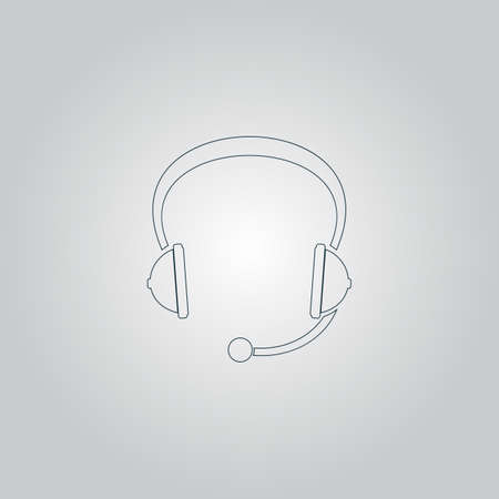 headset symbol: Support headset. Flat web icon or sign isolated on grey background. Collection modern trend concept design style vector illustration symbol