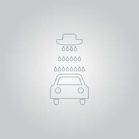 operated: Car wash. Flat web icon or sign isolated on grey background