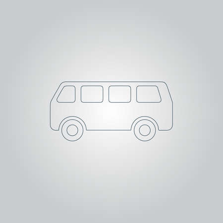 mini job: Minibus. Flat web icon or sign isolated on grey background. Collection modern trend concept design style vector illustration symbol