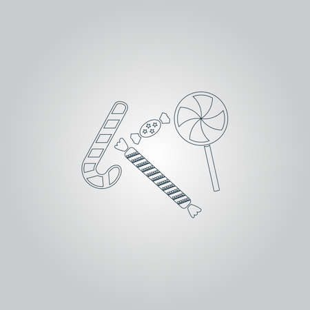 taffy: Sweets and candies. Flat web icon or sign isolated on grey background Illustration