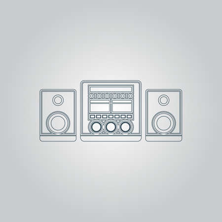 Stereo system. Flat web icon or sign isolated on grey background