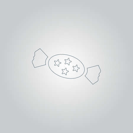 schoolyard: Candy with star. Flat web icon or sign isolated on grey background