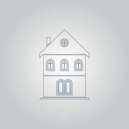 realstate: Simple old house. Flat web icon or sign isolated on grey background