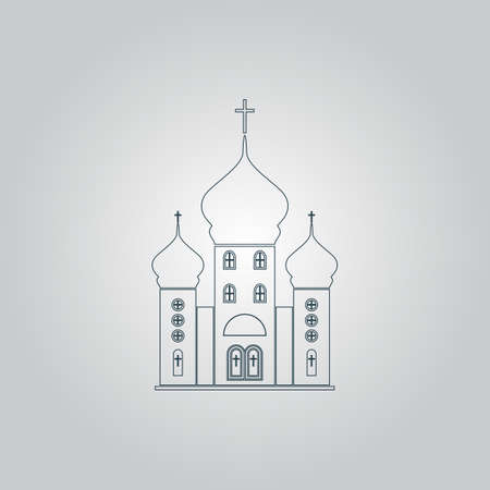 born again: Church. Flat web icon or sign isolated on grey background