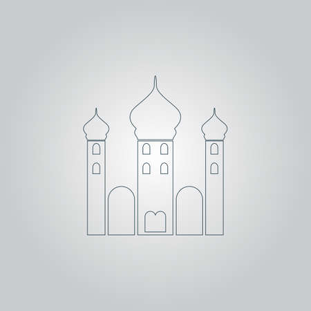 eastern spirituality: Mosque. Flat web icon or sign isolated on grey background Illustration