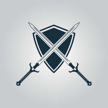 escudo: Dos espadas y escudo. Icono del Web plano o signo aislado sobre fondo gris. Colección tendencia concepto de estilo moderno diseño ilustración vectorial símbolo