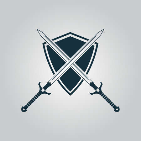 warrior sword: Two swords and shield. Flat web icon or sign isolated on grey background. Collection modern trend concept design style vector illustration symbol