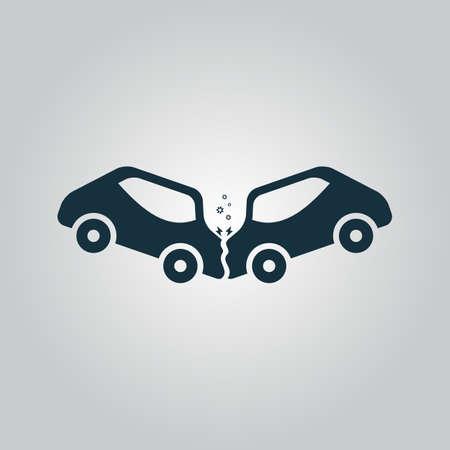 Auto-ongeluk en ongevallen. Flat web pictogram of teken geïsoleerd op een grijze achtergrond. Verzameling moderne trend conceptontwerp stijl vector illustratie symbool Stockfoto - 43829680