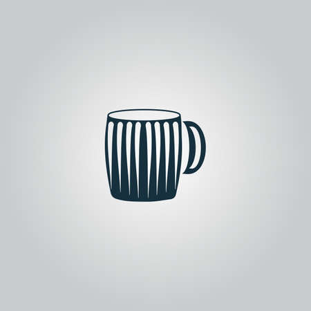chope biere: Empty beer mug. Flat web icon or sign isolated on grey background. Collection modern trend concept design style vector illustration symbol