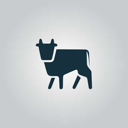 Cow. Flat web icon or sign isolated on grey background. Collection modern trend concept design style vector illustration symbol