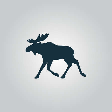 Moose. Flat web icon or sign isolated on grey background. Collection modern trend concept design style vector illustration symbol Vettoriali