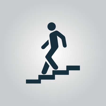 down stairs: Escalera abajo. Icono del Web plano o signo aislado sobre fondo gris. Colección tendencia concepto de estilo moderno diseño ilustración vectorial símbolo