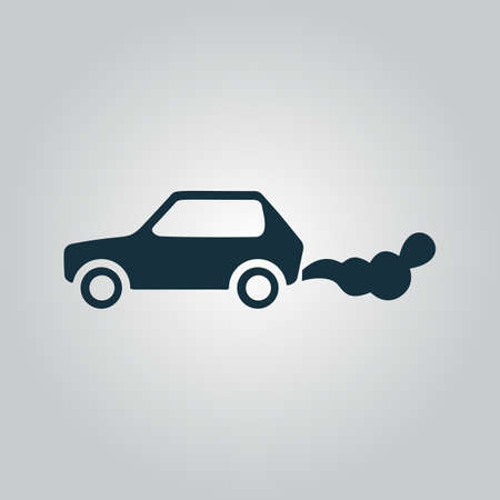 Car emits carbon dioxide. Flat web icon or sign isolated on grey background. Collection modern trend concept design style vector illustration symbol