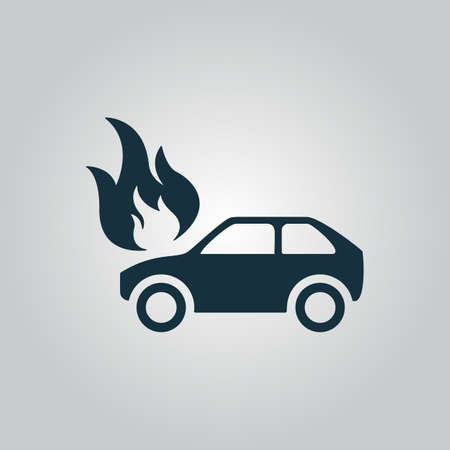 inundation: Car fire. Flat web icon or sign isolated on grey background. Collection modern trend concept design style vector illustration symbol
