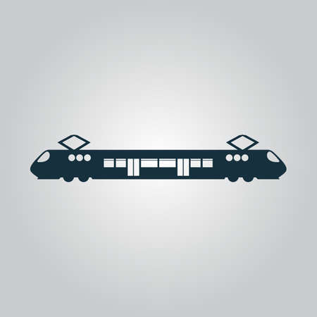 electric train: Suburban electric train. Flat web icon or sign isolated on grey background. Collection modern trend concept design style vector illustration symbol