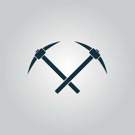 ice ax: Crossed powered icebreaker. Flat web icon or sign isolated on grey background. Collection modern trend concept design style vector illustration symbol