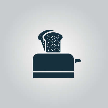 ready cooked: Toaster. Flat web icon or sign isolated on grey background. Collection modern trend concept design style vector illustration symbol