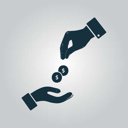 Hands Giving and Receiving Money. Flat web icon or sign isolated on grey background. Collection modern trend concept design style vector illustration symbol