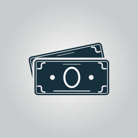 dollar bag: Money Cash. Flat web icon or sign isolated on grey background. Collection modern trend concept design style vector illustration symbol