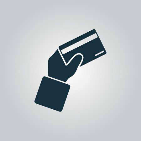tarjeta visa: Pago con tarjeta de cr�dito en la mano. Icono del Web plano o signo aislado sobre fondo gris. Colecci�n tendencia concepto de estilo moderno dise�o ilustraci�n vectorial s�mbolo