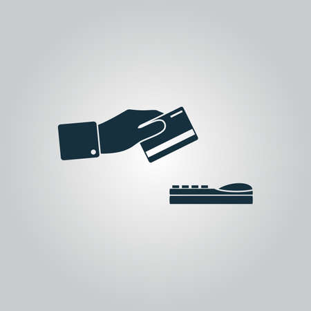 checking accounts: Hand swiping a credit card. Flat web icon or sign isolated on grey background. Collection modern trend concept design style vector illustration symbol Illustration
