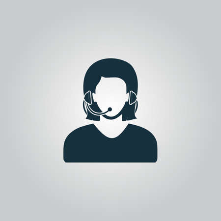 headset symbol: Women customer support. Flat web icon or sign isolated on grey background. Collection modern trend concept design style vector illustration symbol Illustration