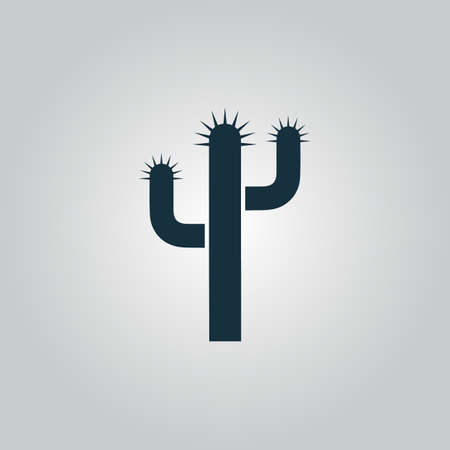 prickle: Cactus. Flat web icon or sign isolated on grey background. Collection modern trend concept design style vector illustration symbol