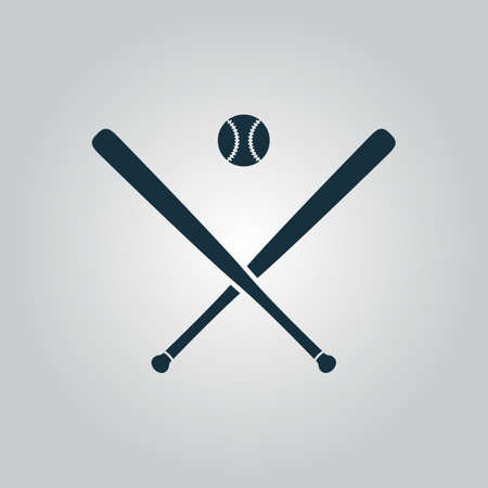 bunt: Crossed baseball bats and ball. Flat web icon or sign isolated on grey background. Collection modern trend concept design style vector illustration symbol
