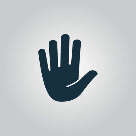 stop gesture: Stop - hand. Flat web icon or sign isolated on grey background. Collection modern trend concept design style vector illustration symbol