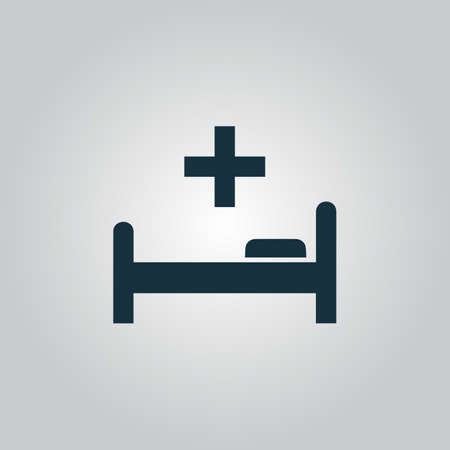 surgery stretcher: Hospital bed and cross. Flat web icon or sign isolated on grey background. Collection modern trend concept design style vector illustration symbol