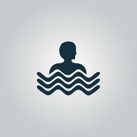 excursions: Swimming pool. Flat web icon or sign isolated on grey background. Collection modern trend concept design style vector illustration symbol Illustration