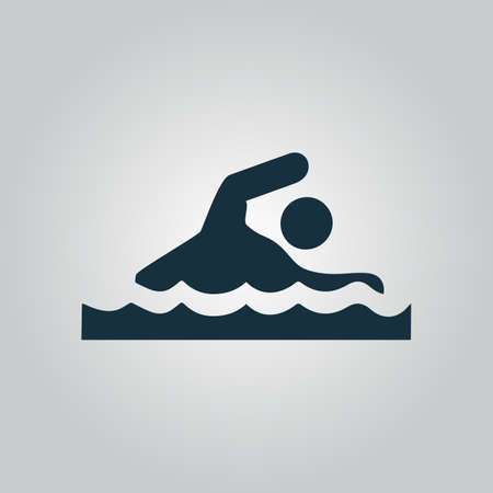 Swimming. Flat web icon or sign isolated on grey background. Collection modern trend concept design style vector illustration symbol