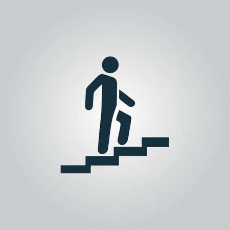 escalera: Hombre en las escaleras que suben. Icono del Web plano o signo aislado sobre fondo gris. Colección tendencia concepto de estilo moderno diseño ilustración vectorial símbolo