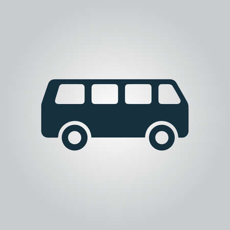 Minibus. Flat web icon or sign isolated on grey background. Collection modern trend concept design style vector illustration symbol