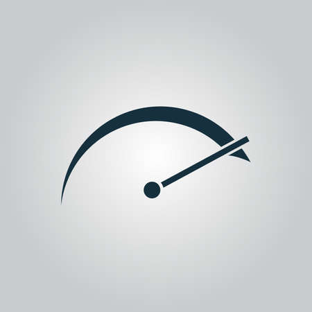 tacometro: Tachometer. Flat web icon or sign isolated on grey background. Collection modern trend concept design style vector illustration symbol Vectores