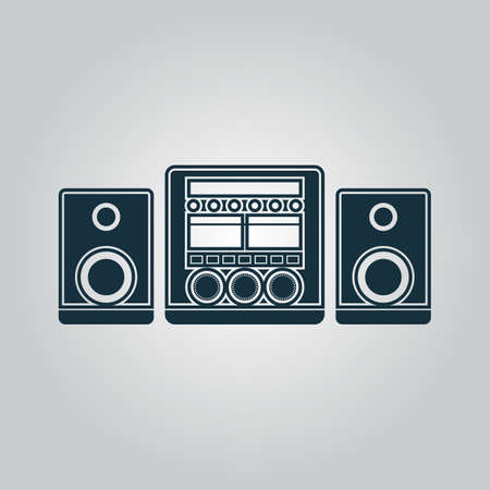 am radio: Stereo system. Flat web icon or sign isolated on grey background. Collection modern trend concept design style vector illustration symbol