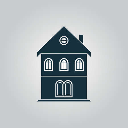 realstate: Simple old house. Flat web icon or sign isolated on grey background. Collection modern trend concept design style vector illustration symbol