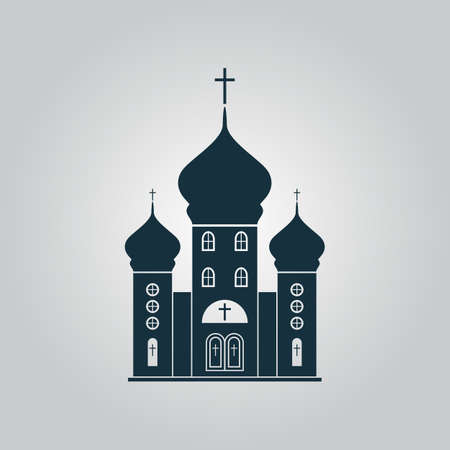 the catholic church: Church. Flat web icon or sign isolated on grey background. Collection modern trend concept design style vector illustration symbol