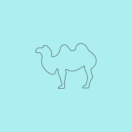 Camel. Simple outline flat vector icon isolated on blue background