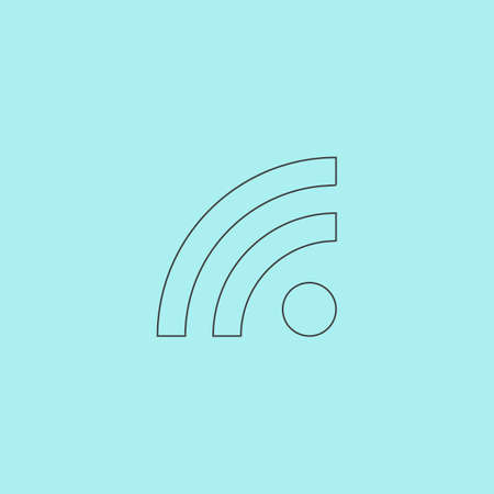 blogged: RSS. Simple outline flat vector icon isolated on blue background Illustration