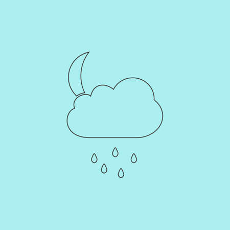 Cloud And Rainy Month Simple Outline Flat Vector Icon Isolated On Blue Background