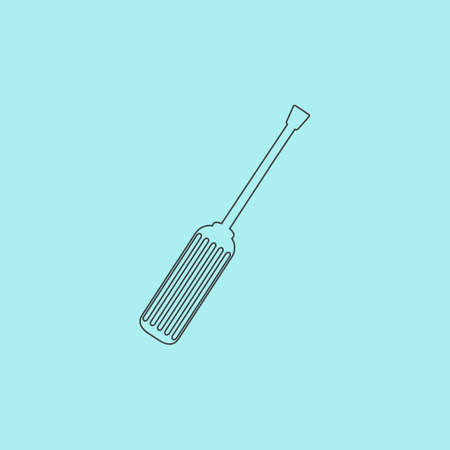 turn screw: Screwdriver. Simple outline flat vector icon isolated on blue background