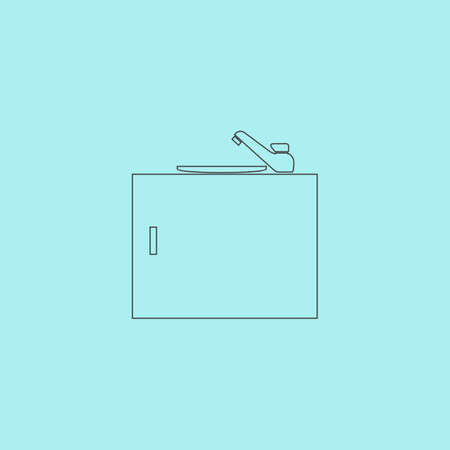 bacia: Kitchenware sink basin. Simple outline flat vector icon isolated on blue background Ilustra��o